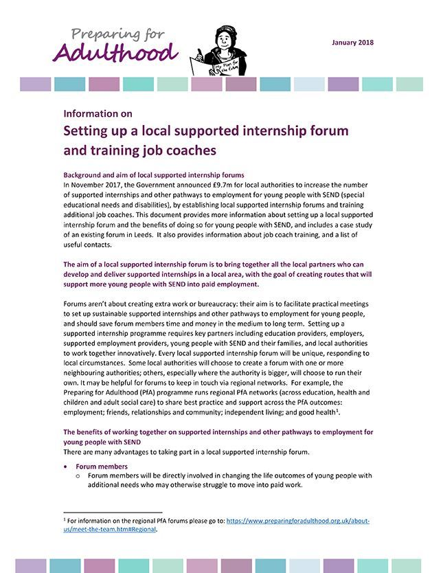 Setting up a local supported internship forum and training job coaches