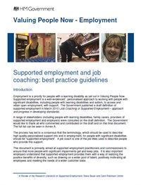 Supported Employment and Job Coaching – best practice guidelines